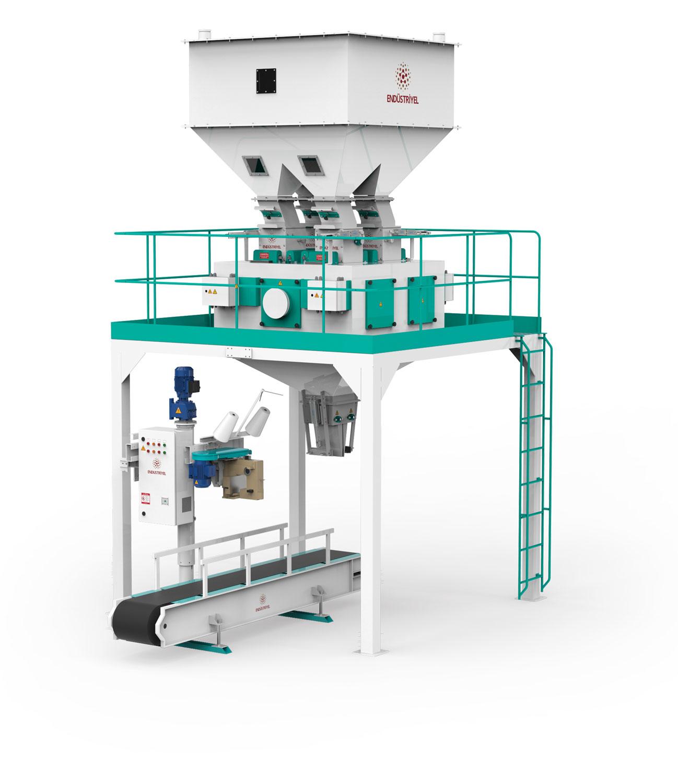 Dört Tartım Tek İstasyon Bakliyat Paketleme Makinası 10/25/50 Kg
